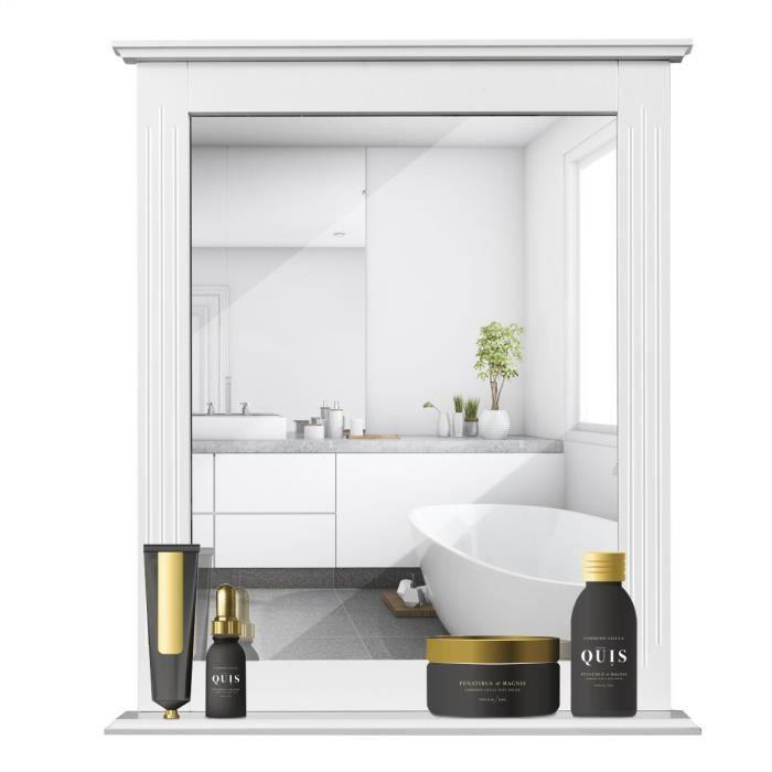 COSTWAY Miroir Murale Salle de Bain avec Tablette de StockageCadre en Bois  pour Salon,Douche,ChambreCouloir 57 x 12 x 68CM Blanc
