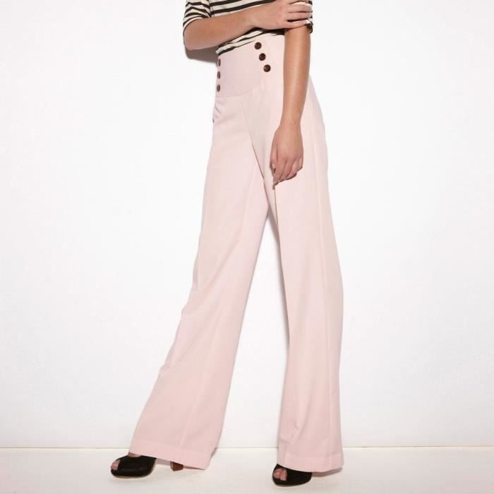 Pantalon à pont coupe large 3SUISSES Rose - Achat   Vente pantalon ... 7621b76ea42