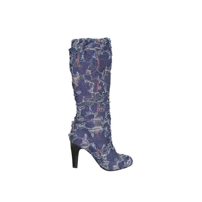 Denim Colorful Stiletto High Heel Euro Style Boots PTBI4 Taille-38