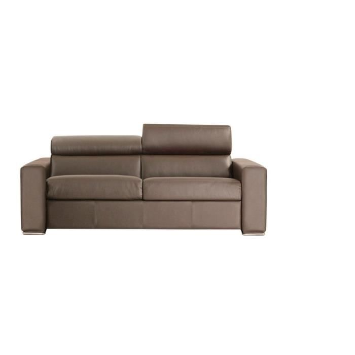 Canap convertible omega vrai cuir taupe 140x190 achat vente canap sof - Canape convertible 140x190 ...