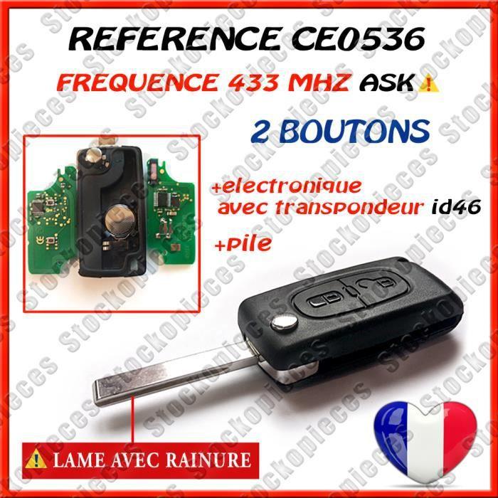 CE0523 clé PLIP télécommande Peugeot 607 phase 2 ASK FREQUENCE 433-434MHZ Réf