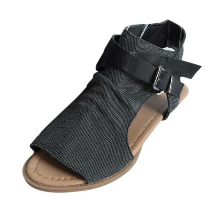 Chaussures@ Sandales à talon plat de la bouche des femmes de poissons Noir + 39
