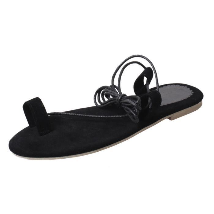 Femmes Chaussures Plates Bandages Bohême Loisirs Lady Sandales Pantoufles Chaussures@Noir