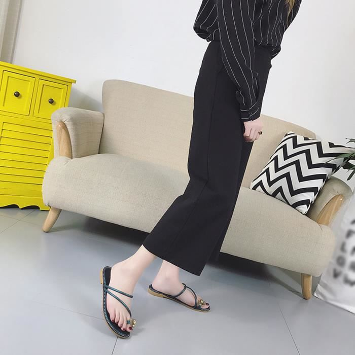 Mode Femmes Strass Talon Plat Anti Dérapage Plage Chaussures Sandales Pantoufle@vert