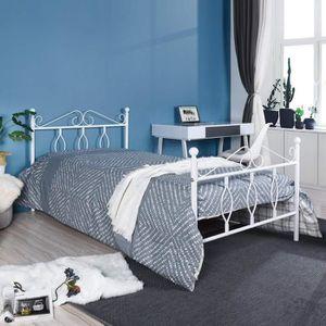 STRUCTURE DE LIT Aingoo Lit 90 x 190 cm - Pour enfant - Blanc
