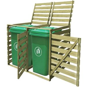 POUBELLE - CORBEILLE YULINSHOP Abri pour poubelle double 240 L Bois imp