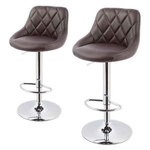 tabouret de bar cuir marron achat vente tabouret de. Black Bedroom Furniture Sets. Home Design Ideas