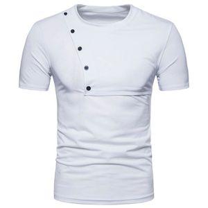 T-SHIRT Tee Shirt Homme Marque-Uni-Col Rond-T-Shirt