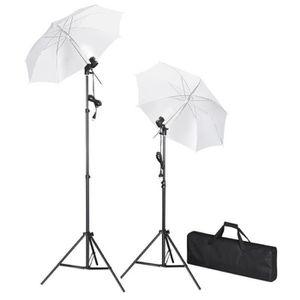 FOND DE STUDIO Kit de studio photo avec lampes pieds et parapluie
