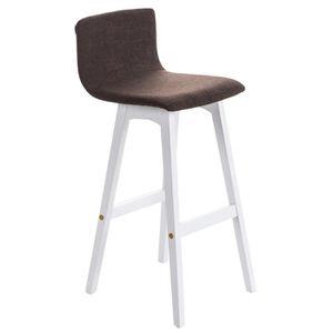 TABOURET DE BAR Tabouret de bar en bois blanc avec siège en tissu