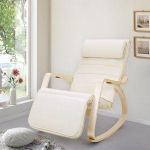 FAUTEUIL SONGMICS Fauteuil à bascule - Rocking Chair beige
