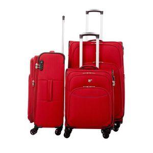 SET DE VALISES Set de 3 valises souples 8 roulettes Verage Rouge