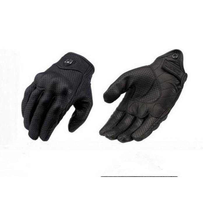 Gants de moto Moto Gants de vélo en cuir Gants de moto en cuir perforé couleur noir taille L
