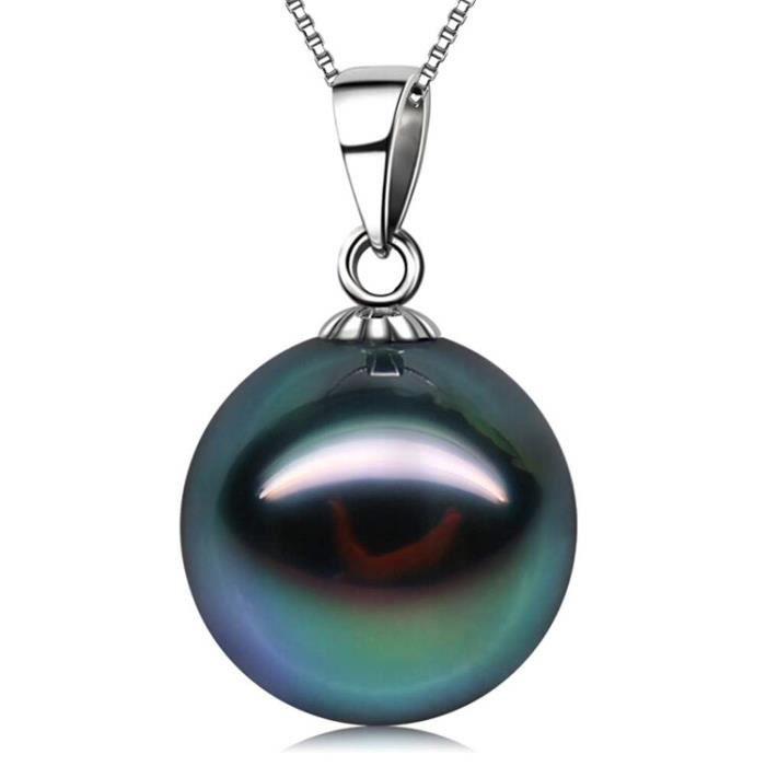 Collier GMWTL pendentif en or 18 carats 10-11 mm véritable perle de culture de la mer du Sud tahitienne noire pour avec 18 chaînes