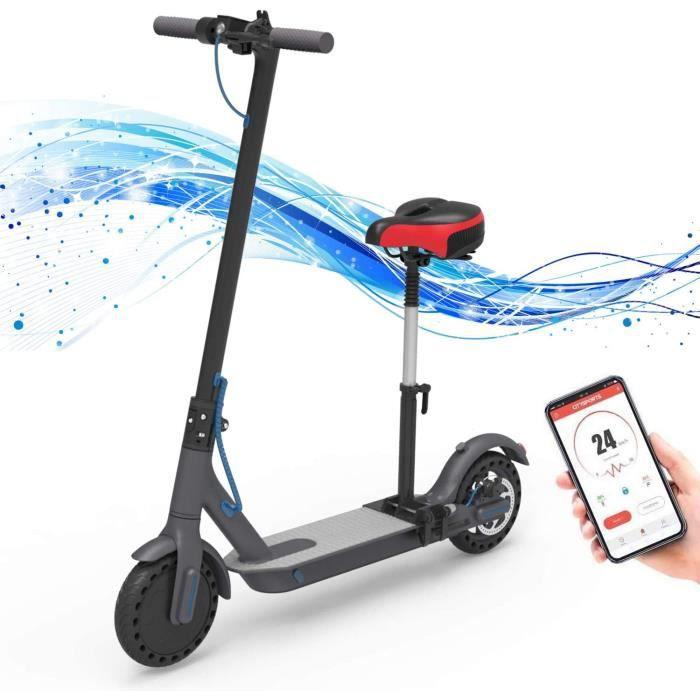 Hoverboards Trottinette électrique, Trottinette électrique Adultes avec siège Amovible Pneu 8,5 Pouces Scooter électrique Jusqu'à 25