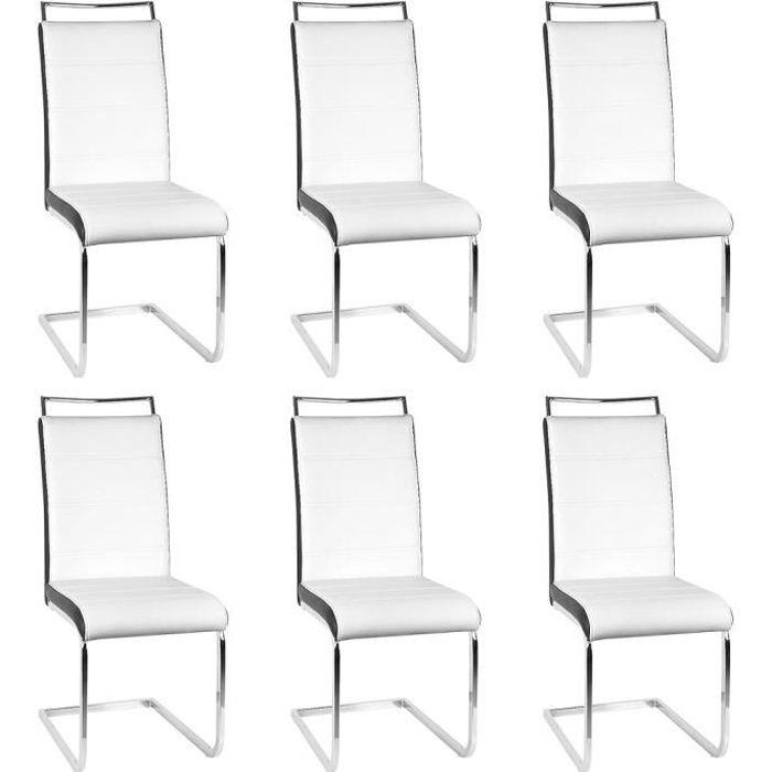 Lot de 6 Chaises de Salle à Manger avec Assise Rembourrée Large Poignée Revêtement en Cuir PU - Blanc/Noir