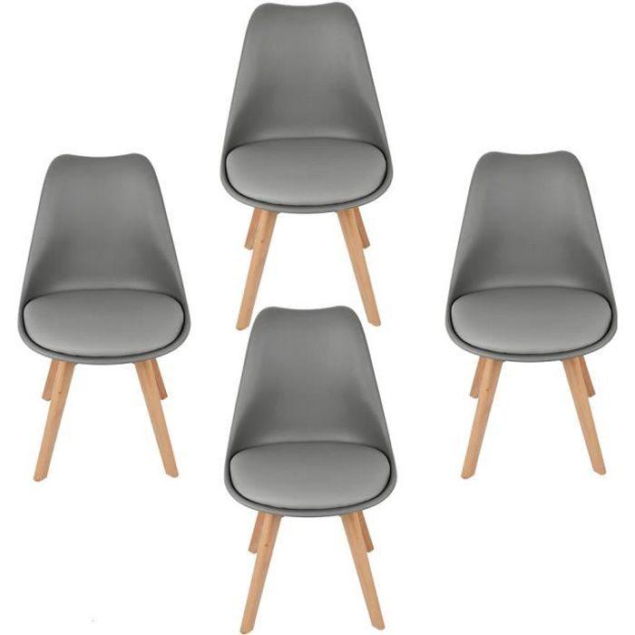 Lot de 4 chaises scandinaves gris fonce avec coussin