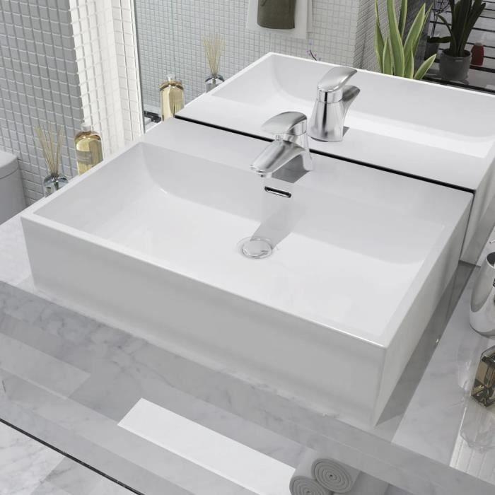 Vasque avec trou Vasque à Poser de robinet en céra Vasque avec trou de robinet en céramique Blanc 60,5x42,5x14,5cm♫9124