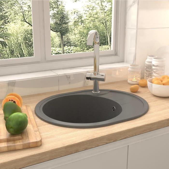 Elégant Évier de cuisine Style Scandinave avec trou de trop-plein - ovale - Gris Granit ☺11495