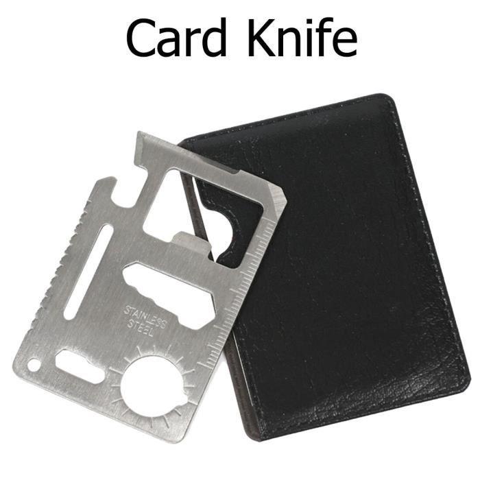 PLUS Couteau multifonction 11 en 1 pour Camping en plein air survie chasse couteau de carte de crédit militaire SOS couteau de