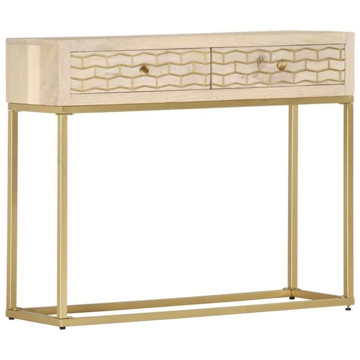 Console Style industriel - Table console Table d'entrée Table de Bureau Doré 90 x 30 x 75 cm Bois de manguier massif élégant @701686