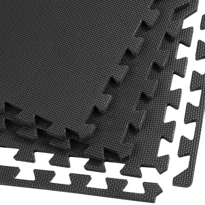 VlFit Tapis de Protection de Sol 60 x 60 cm Dalles en Mousse + 2 Bordures Matelas Puzzle Tapis de Fitness pour matériel Fitness,