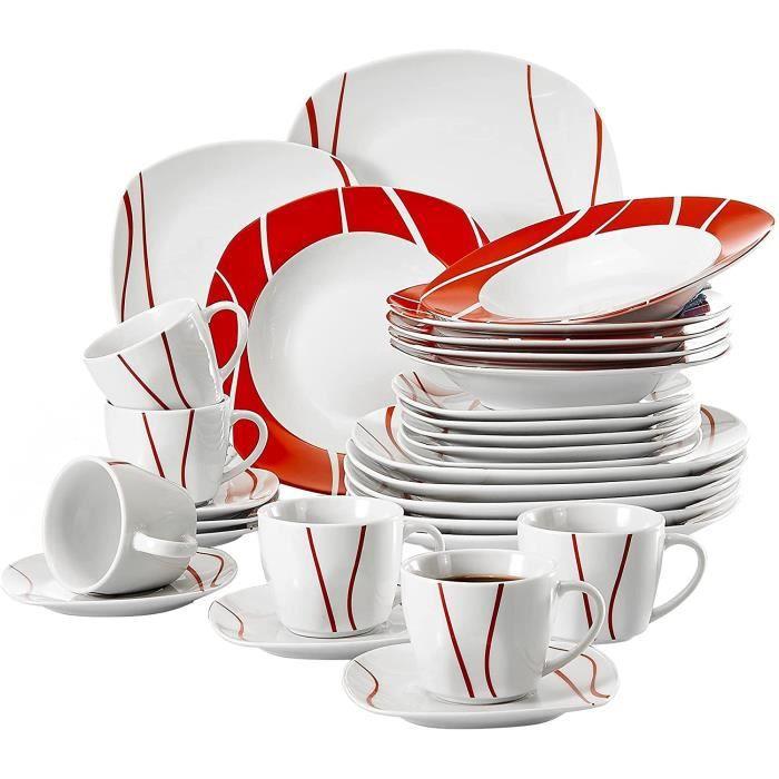 , Série Felisa, 30pcs Service de Table Complets Porcelaine, 6 Tasses, 6 sous-Tasses, 6 Assiettes à Dessert, 6 Assiettes à Soupe Creu