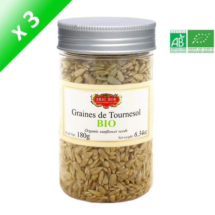 [LOT DE 3] ERIC BUR Graines de Tournesol Biologiques - 180 g