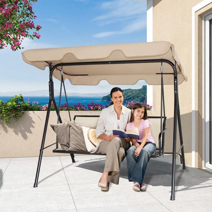 COSTWAY Balancelle de Jardin 3 Places en Polyester et Acier avec Toit Anti-UV Réglable pour Balcon,Terrasse 173 x 119 x 152CM Brun