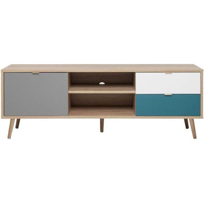 CUBA Meuble TV - Scandinave décor chêne, gris, blanc et bleu pétrole - L 150 cm
