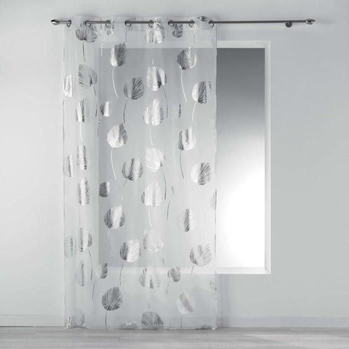 Rideau de fenêtre sur rainures BRENDY, 140 x 240 cm, blanc en feuilles argentées