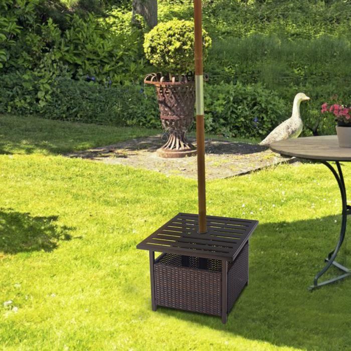 GIANTEX Table de Jardin en Rotin avec 4 CM Trou de Parasol en Métal,Charge Max.50KG, Table de Parasol pour Jardin,Balcon,Cour, Brun