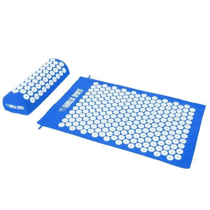 Tapis d'acupression avec coussin et sac de transport - tapis de fakir - tapis de massage - 68 x 42 x 2,5 cm - Couleur : bleu foncé