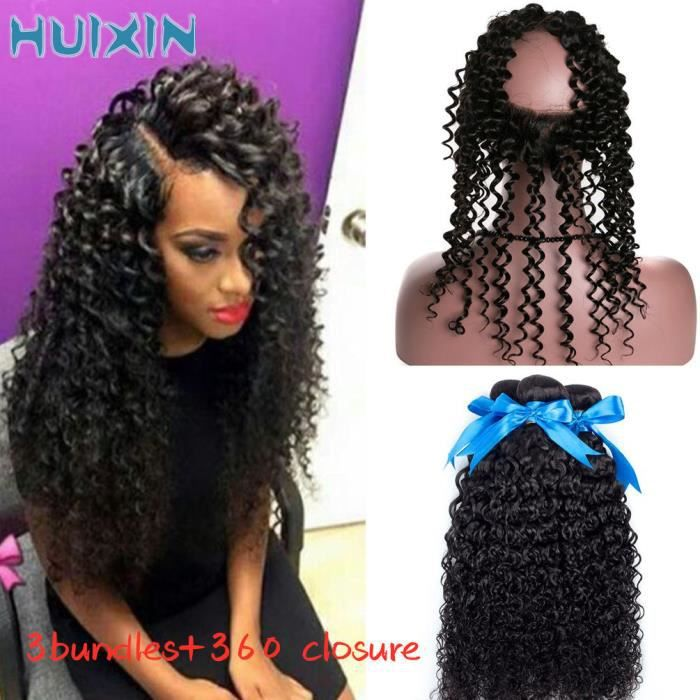 (16 16 16+10-closure)3 Bundles avec 360 Lace Frontal Closure Cheveux vierges péruviens Curly Weave Wave