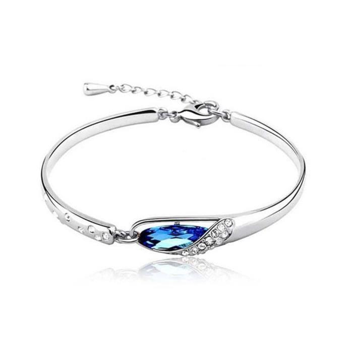 LCC® Bracelet femme/fille argent-Swarovski Elements Cristal Bleu- alliage Plaque Or Blanc