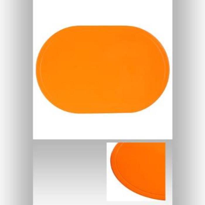 Lot de 4 Set de Table Ovale en PVC Orange - Dessous Protège Cuisine - 622