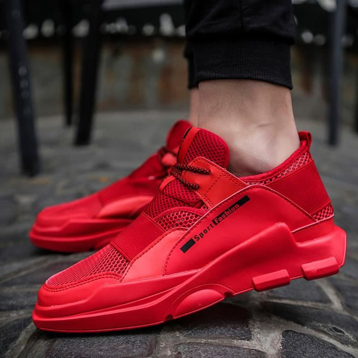 Mesh respirant Chaussures Casual légère non-Slip Chaussures Running Wild hommes rouge