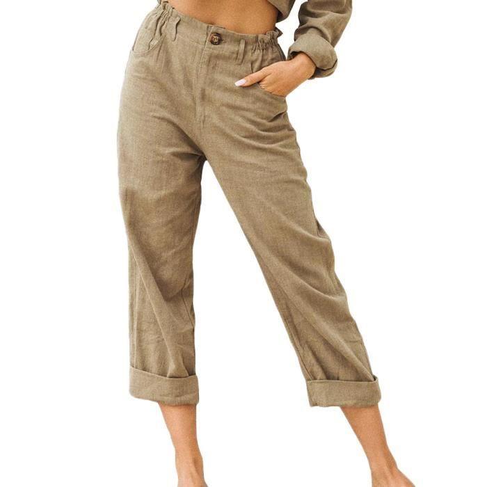 Pantalon en Lin Décontracté pour Femme Ete Causal Taille Haute Taille Élastique Ample Pantalon Fluide 3-4 Longueur Pants,Kaki