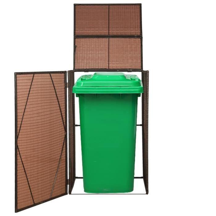Cache-poubelles Résine tressée 76x78x120 cm Marron Cache Poubelle Extérieur Cache-conteneurs à déchets