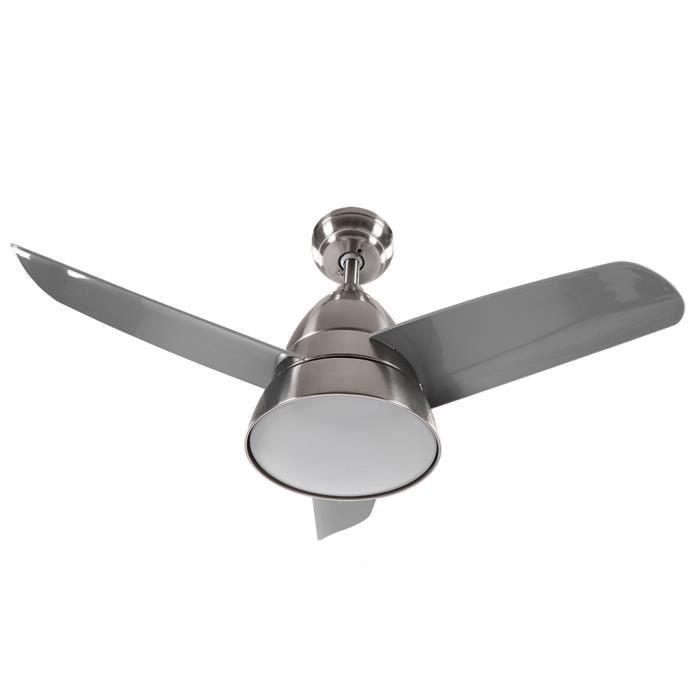 Ventilateur de plafond 36 -avec lumières changeantes 3 couleurs et télécommande 3 pales nickel sable--XIA