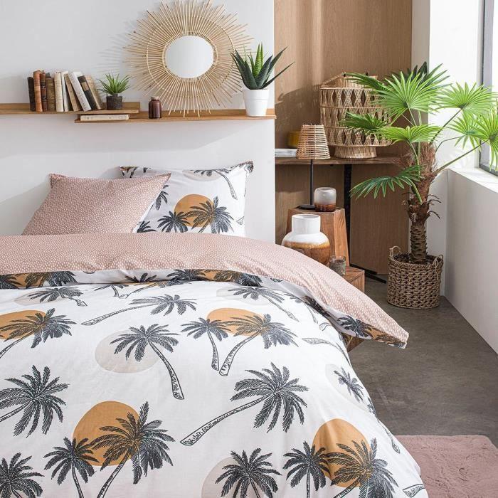 TODAY Parure de lit SUNSHINE 5.47 - 2 personnes - 220 x 240 cm coton - Imprimé Blanc Jungle TODAY
