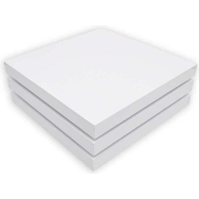 Table basse à café blanc laqué carrée pivotante 3 plateaux 80 x 80 x 30,5 cm