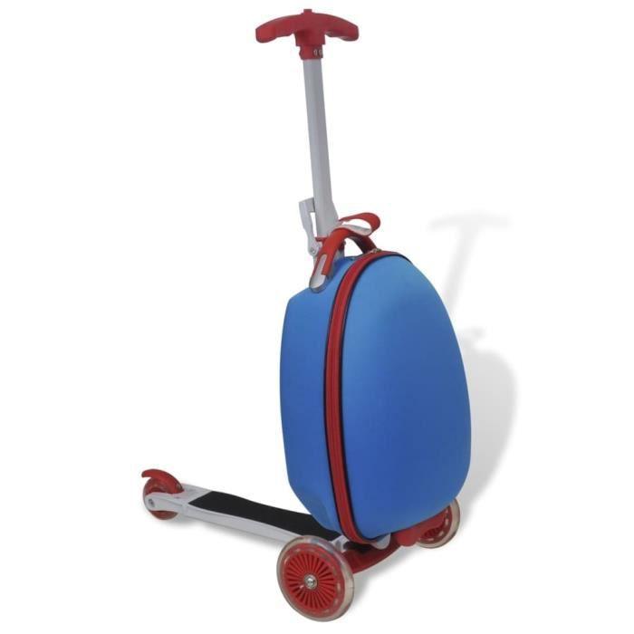 Valise chariot bleue avec trottinette jouet cadeau pour enfant