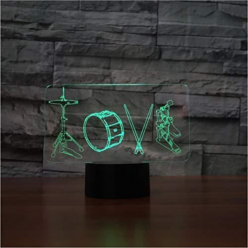 XM801-3D Optique LED Veilleuse 3D LED Night Light Drum Lampe Cool Garçon Chambre 3D Night Night Decor Décor Bulbing Enfa