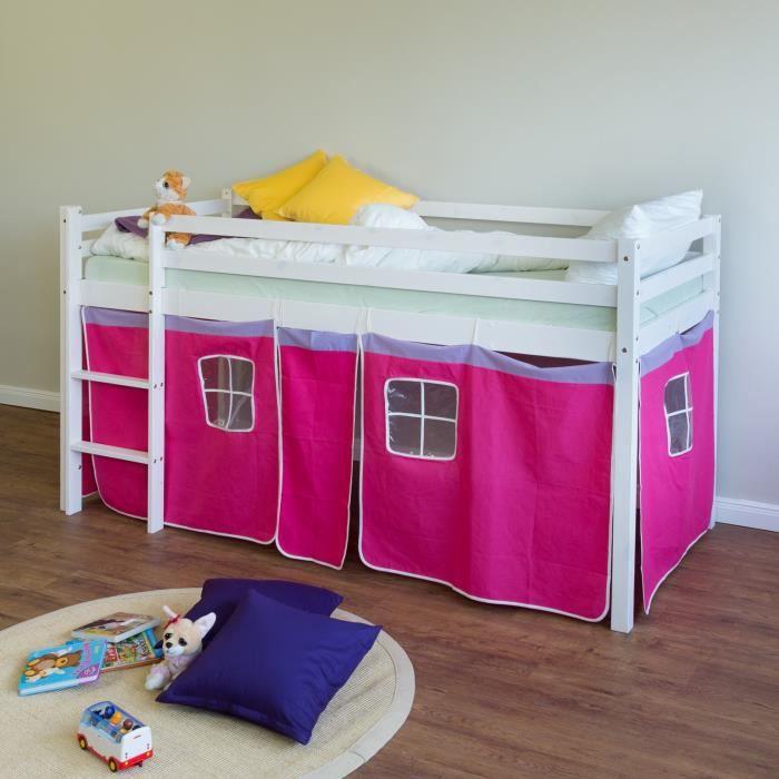 LIT MEZZANINE Lit superposé enfant rose, échelle et rideaux Bleu