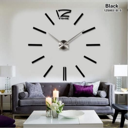 nouveau moderne grande surface horloge murale miroir 3d bricolage sticker home decor art design. Black Bedroom Furniture Sets. Home Design Ideas