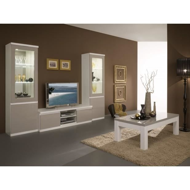 Ensemble 4 l ments laque blanc gris 2 vitrine meuble for Ensemble salon blanc