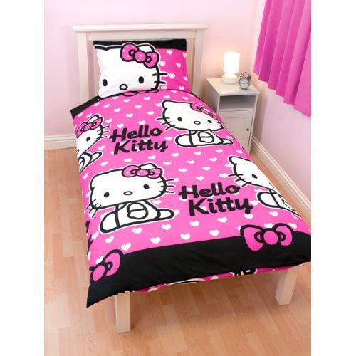 parure de couette hello kitty 1 pers lit de 90 cm achat vente parure de couette cdiscount. Black Bedroom Furniture Sets. Home Design Ideas