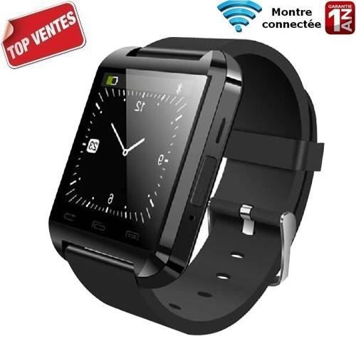 montre noire connect e u8 bluetooth iphone samsung android achat montre connect e pas. Black Bedroom Furniture Sets. Home Design Ideas