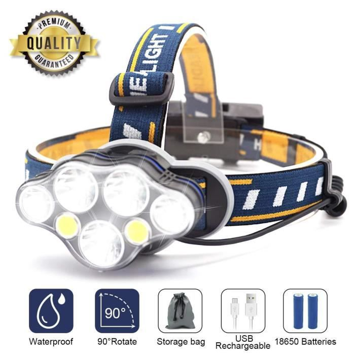 Lampe Torche LED Rechargeable Lampe Lampe Frontale Super Lumineuse